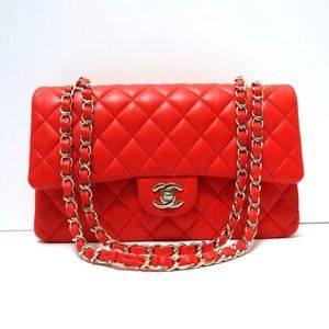 Chanel 2017 Red Light Gold Hardware Medium Flap